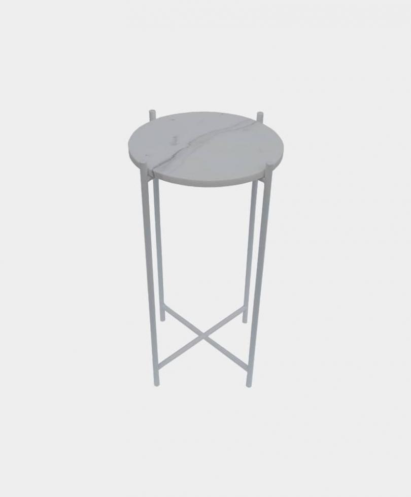 kwietniki, panada, stolik, okrągły marmur, biały